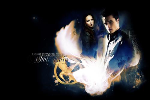 Peeta Mellark and Katniss Everdeen kertas dinding entitled Katniss and Peeta
