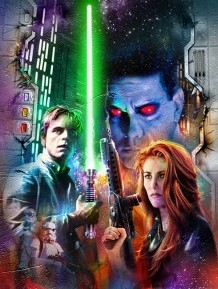 Mara Jade Skywalker wallpaper containing anime titled Mara and Luke with Thrawn in background