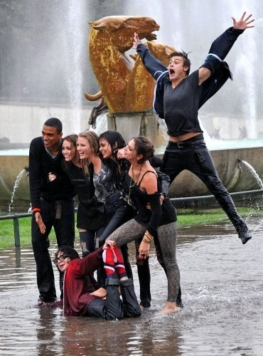 Miley Cyrus And The Cast Of 'LOL: Laughing Out Loud' Filming in Paris.