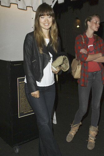Olivia Wilde left castillo, chateau Marmont in Los Angeles at 2am in good spirits.