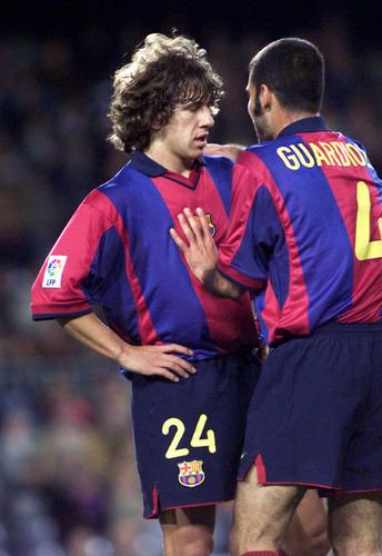 Pep and Puyol playing together for Barça