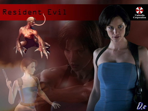 Resident Evil Movie वॉलपेपर possibly with a leotard, a bustier, and a स्विमिंग सूट entitled Resident Evil Movie