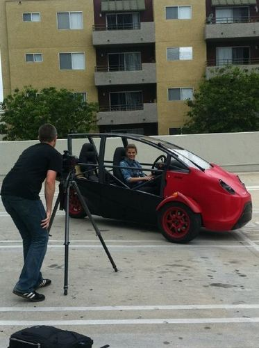 Stana Test Driving the Arcimoto Prototype
