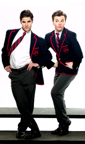 Kurt and Blaine wallpaper with a business suit, a suit, and a well dressed person entitled Warblers album art outtakes!