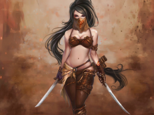 Fantasy Hintergrund possibly containing a breastplate and a Unterwäsche entitled Warrior Girl
