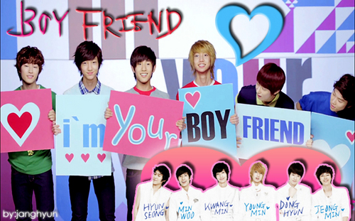 Kpop wallpaper probably with a sign called boyfriend