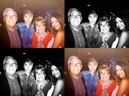 justin & selena <3 with jbs grandparents