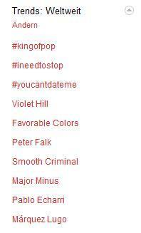 kingofpop and smooth criminal trending on twitter (june 25th 2011)