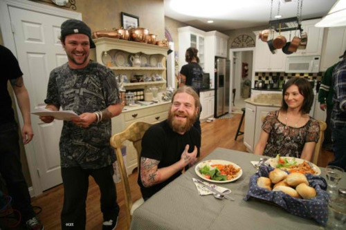 Ryan Dunn wallpaper with a holiday dinner, an antipasto, and a dinner table entitled ryan with Bam and his Girlfriend Angie