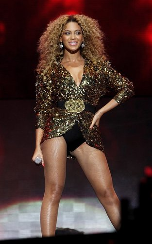 beyonce performing at the 2011 Glastonbury Festival (June 26).