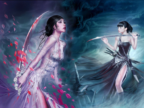 Fantasy wallpaper possibly containing a dinner dress, a cocktail dress, and a dress entitled Blood Swords