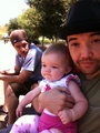 Doug Robb, Dan Estrin and Doug's little girl Magnolia - hoobastank photo
