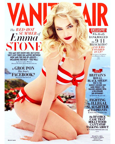 Эмма Стоун Обои probably with a bikini, attractiveness, and a portrait entitled Emma Stone covers Vanity Fair, August 2011