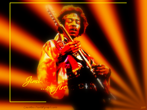 Classic Rock wallpaper containing a concert and a guitarist titled Jimi ...on fire