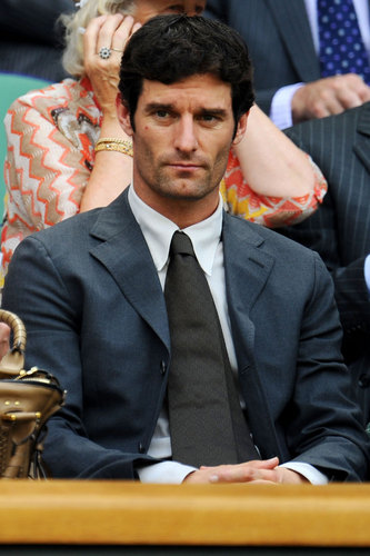 Mark Webber watches Andy Murray on centre court Wimbledon on Monday