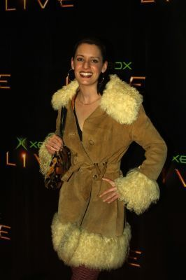 Paget Brewster Hintergrund with a pelz mantel called Paget Brewster at Launch Party for XBox Live