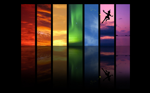 arco iris Skies and Peter Pan fondo de pantalla