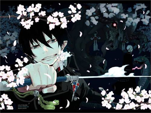Rin Okumura 바탕화면 probably with a bouquet and a sign entitled Rin!