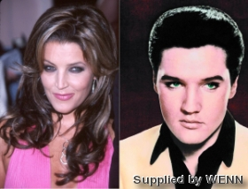Elvis Aaron Presley and Lisa Marie Presley wolpeyper with a portrait entitled The same face