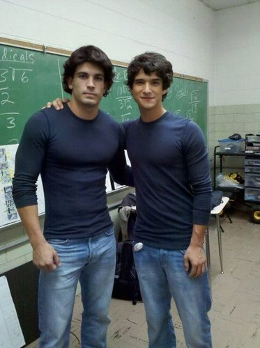 Tyler and his stunt double on set of Teen নেকড়ে