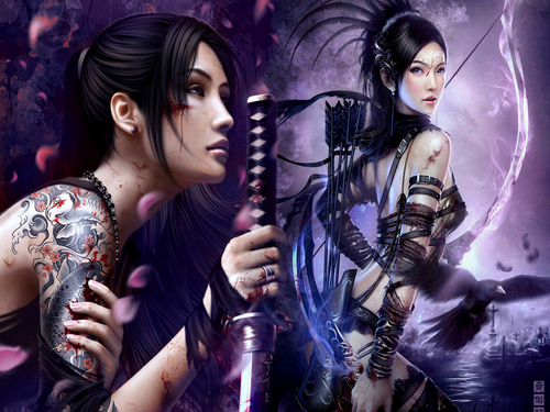 Fantasy wallpaper titled Woman Warriors