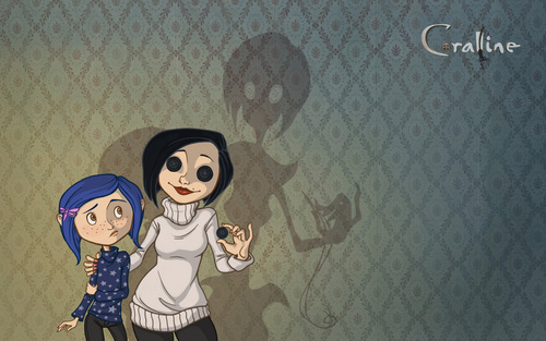 Coraline wallpaper with a chainlink fence titled coraline