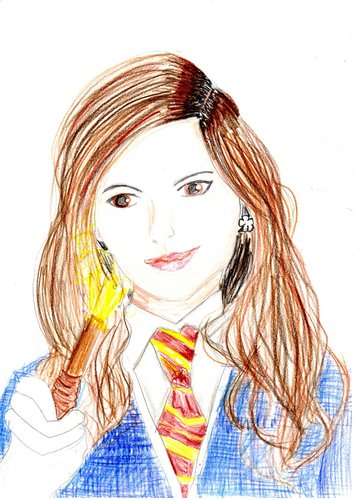 hermione in her hogwarts uniform