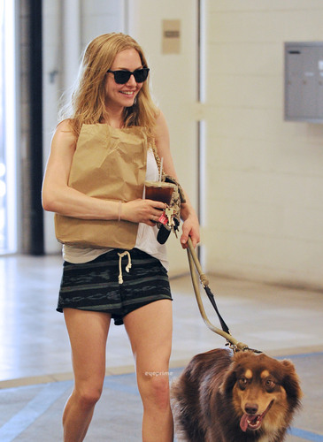 Amanda Seyfried Grabs a Coffee with her Dog in Hwood, Jul 2