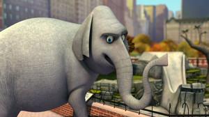 마다가스카의 펭귄 바탕화면 with a triceratops titled BURT!!! O: