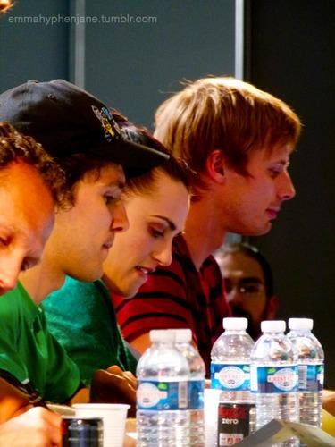 Comic Con France 2011 - Merlin PanelSecond Signing: Colin Morgan, Katie McGrath & Bradley James.
