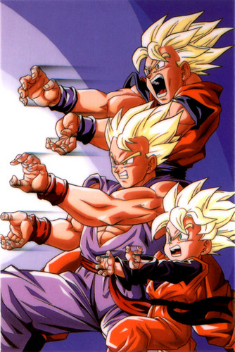dbz rampage wallpaper containing anime called Father and son kamehameha