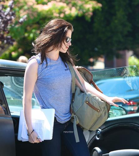 Kristen Stewart is seen heading into an office building in L.A, Jun 30