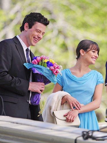 Lea & Cory filming Glee in NYC