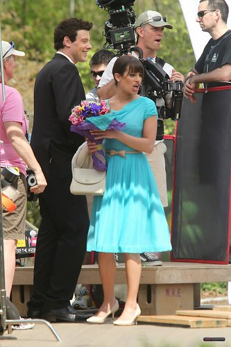 Lea & Cory filming Glee in NYC