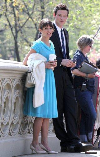 Lea & Cory filming 글리 in NYC