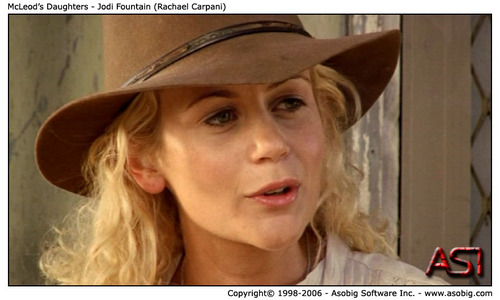 McLeod's Daughters wallpaper probably containing a fedora, a boater, and a campaign hat called McLeod's Daughters - Jodi Fountain (Rachael Carpani)