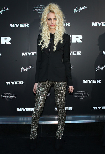 andrej pejic wallpaper probably containing a sign called Myer Celebrates 100 Years & Bourke Street Store Re-Opening