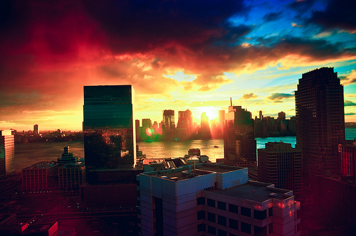 New York wallpaper with a business district, a skyscraper, and a street entitled New York | ♥