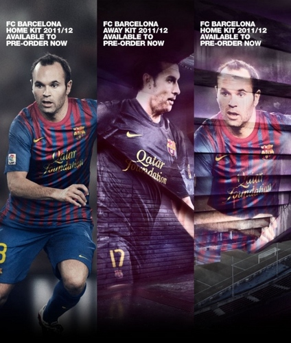 Promo poster for the 2011/12 Kit (Iniesta and Pedro)