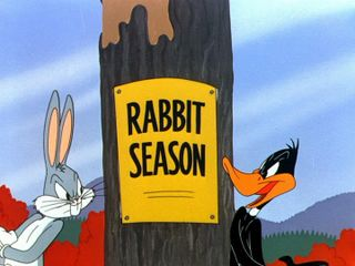 Elmer Fudd Duck Season http://www.fanpop.com/clubs/bugs-bunny-and-daffy-duck-vs-elmer-fudd/images/23363326/title/rabbit-season-photo