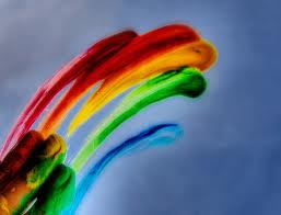 pelangi, rainbow finger paint