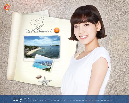 SNSD Taeyeon Vita500 July 2011 Calendars