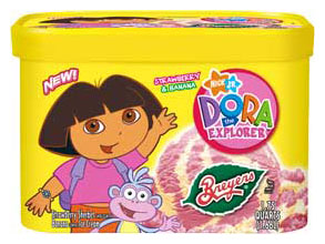 Dora the Explorer wallpaper probably with a canned meat titled Strawberries and Bananas Ice Cream
