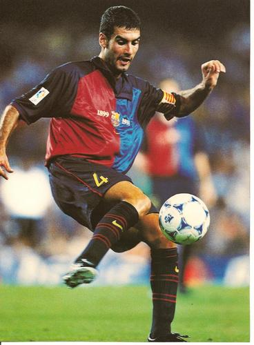 FC Barcelona wallpaper with a soccer ball titled Young Pep Guardiola