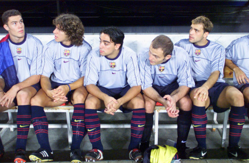 Young Puyol and Xavi