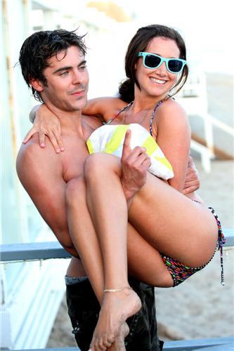Zac Efron: Shirtless Piggyback Ride for Ashley Tisdale