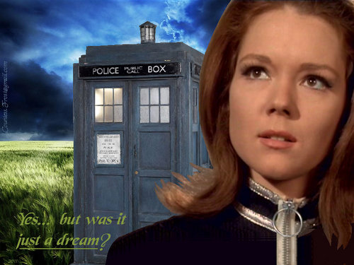 Diana Rigg kertas dinding probably containing a telephone booth, a sign, and a jalan called just a dream