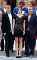 Emma Watson with Tom Felton and Rupert Grint promoting