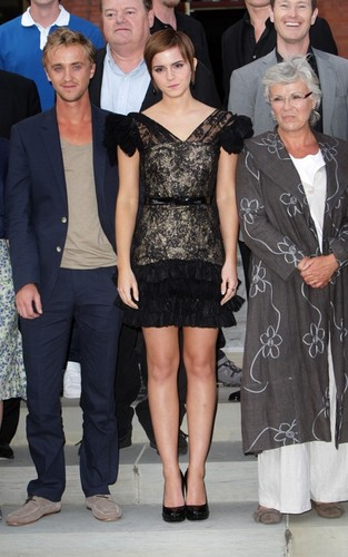 """Emma Watson with Tom Felton and Rupert Grint promoting """"Harry Potter and the Deathly Hallows Part 2"""""""