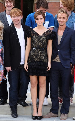 "Emma Watson with Tom Felton and Rupert Grint promoting ""Harry Potter and the Deathly Hallows Part 2"""